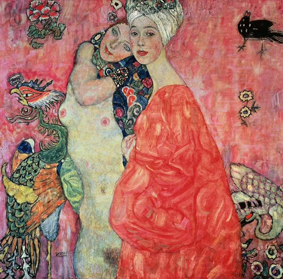Women Friends painting - Gustav Klimt Women Friends Art Print