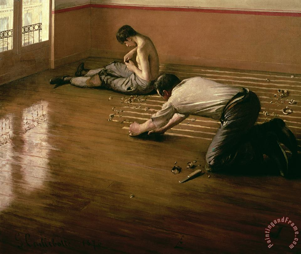 The Parquet Planers painting - Gustave Caillebotte The Parquet Planers Art Print