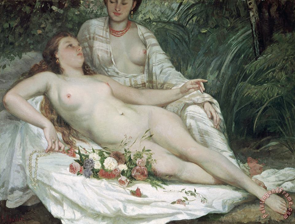 Bathers or Two Nude Women painting - Gustave Courbet Bathers or Two Nude Women Art Print