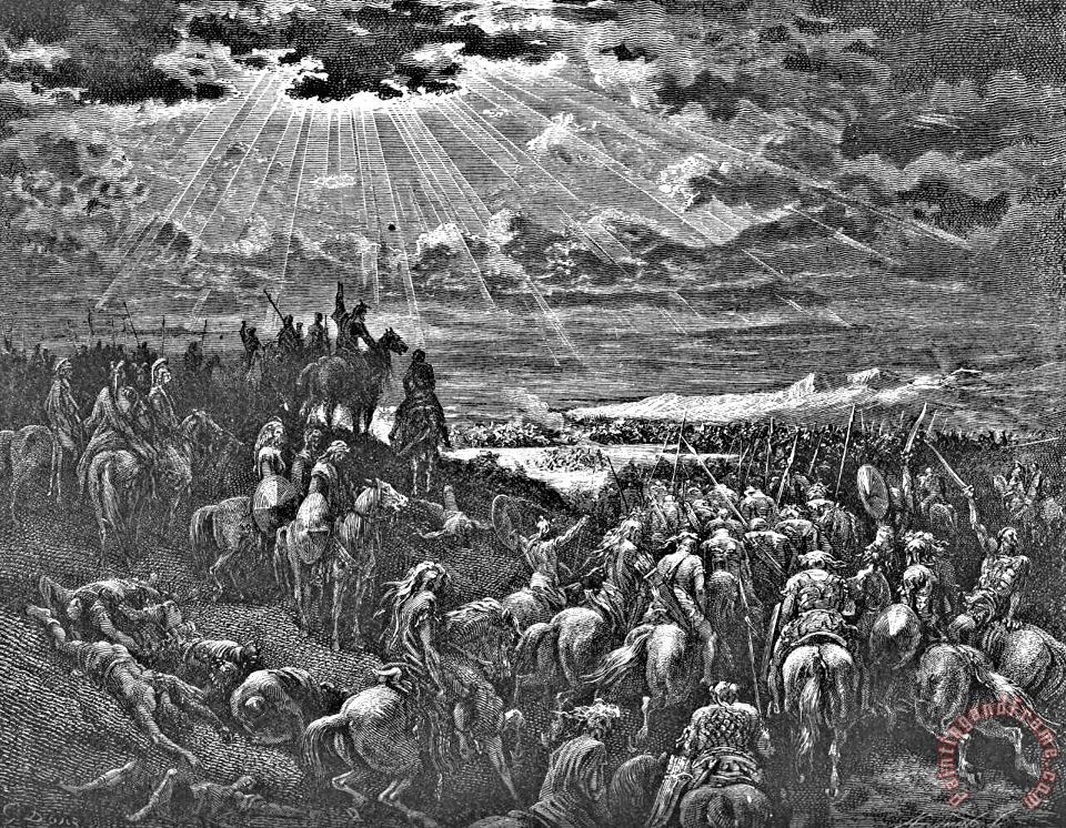 Biblical Battle Scene Engraving painting - Gustave Dore Biblical Battle Scene Engraving Art Print