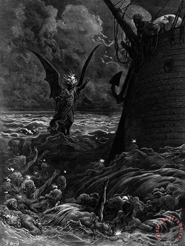 Death-fires Dancing Around The Becalmed Ship painting - Gustave Dore Death-fires Dancing Around The Becalmed Ship Art Print