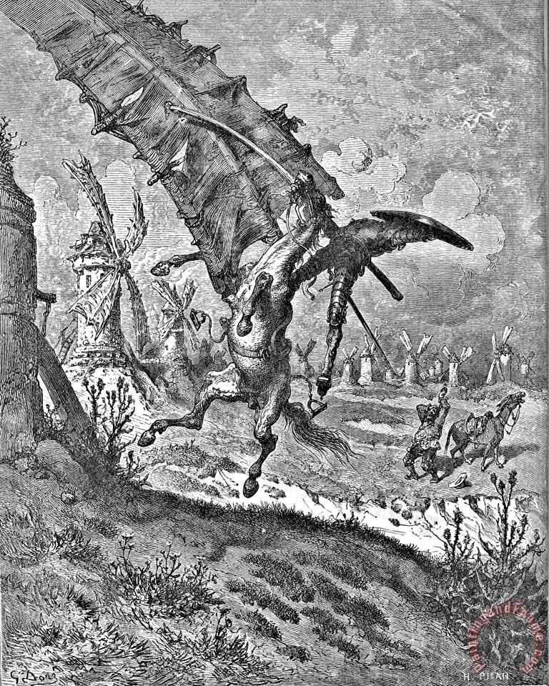 Don Quixote Attacks The Windmill Engraving painting - Gustave Dore Don Quixote Attacks The Windmill Engraving Art Print