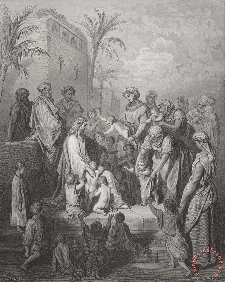 Jesus Blessing The Children painting - Gustave Dore Jesus Blessing The Children Art Print
