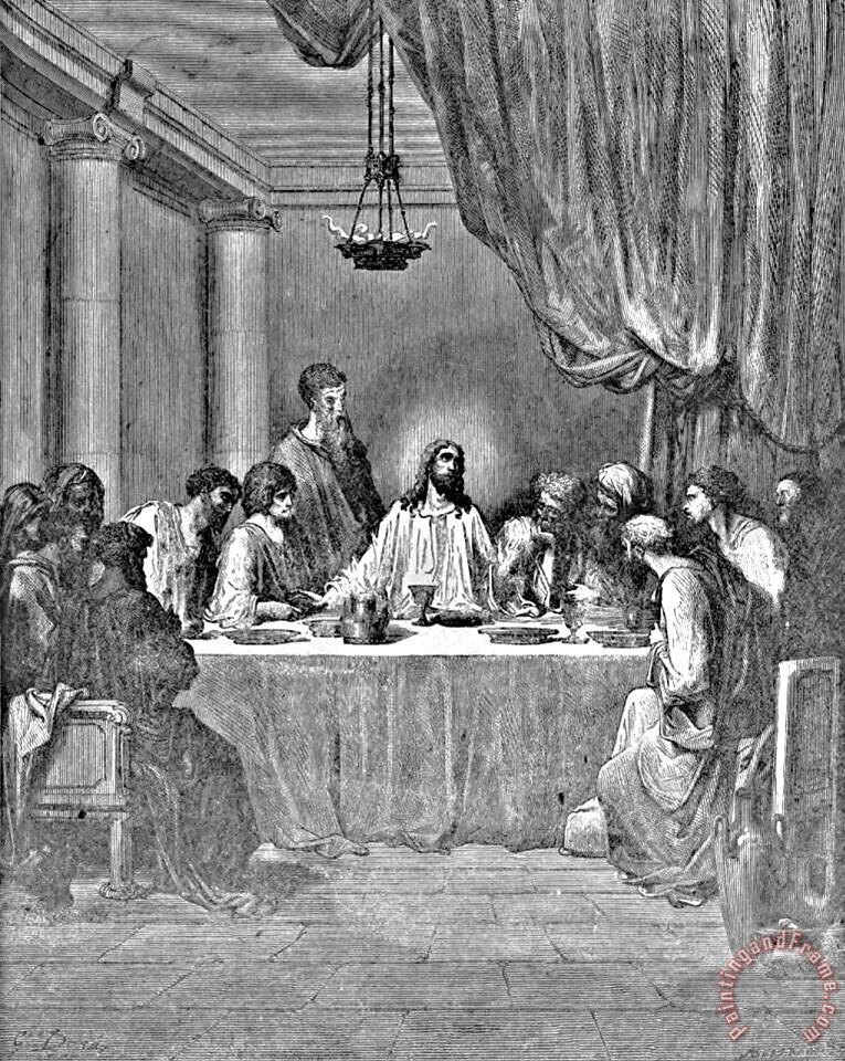 Last Supper Biblical Illustration painting - Gustave Dore Last Supper Biblical Illustration Art Print