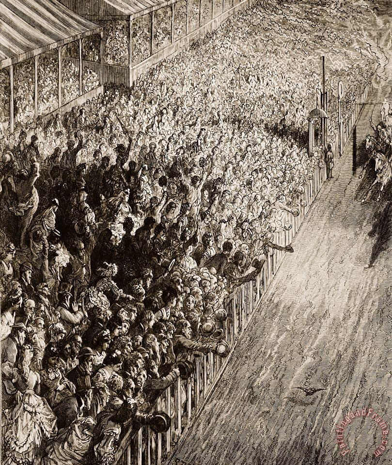 Gustave Dore The Finishing Line Of The Derby Art Painting