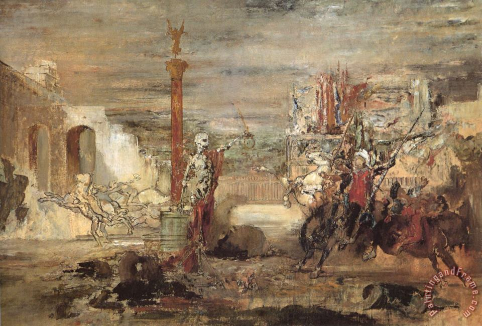 Death Offers Crowns to The Winner of The Tournament painting - Gustave Moreau Death Offers Crowns to The Winner of The Tournament Art Print