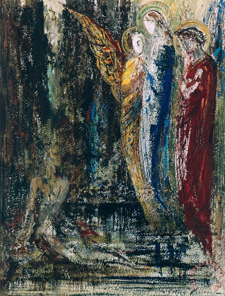 Gustave Moreau Job And The Angels Art Print