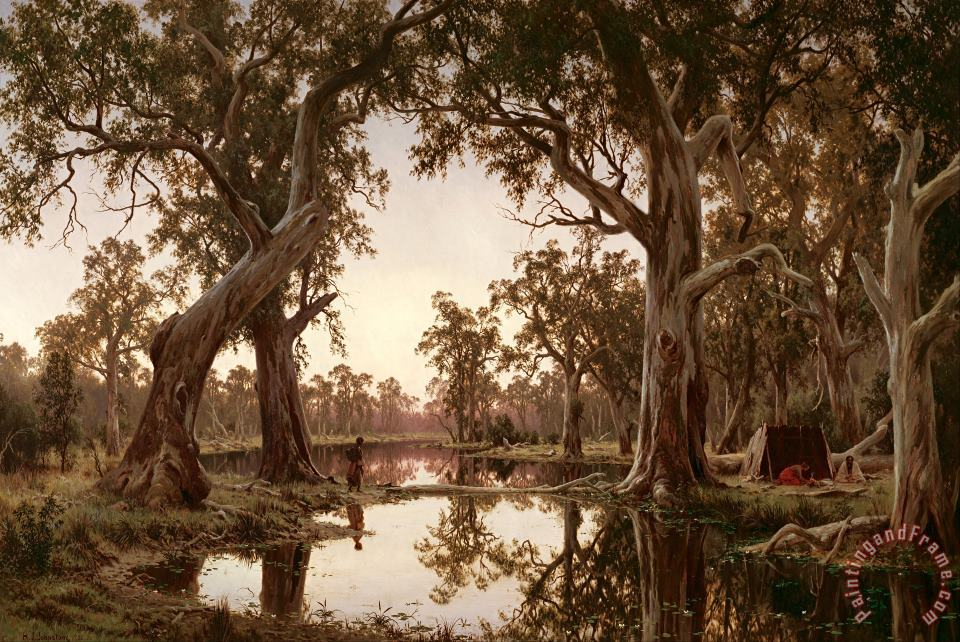 Evening Shadows, Backwater of The Murray, South Australia painting - H J. Johnstone Evening Shadows, Backwater of The Murray, South Australia Art Print