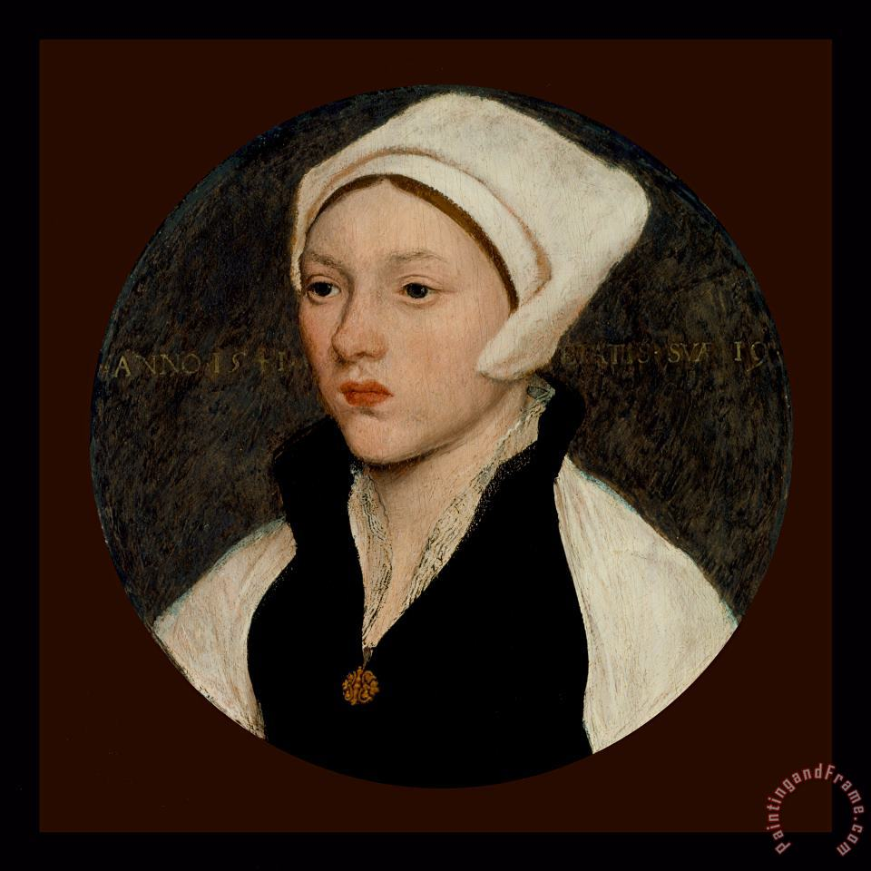 Portrait of a Young Woman with a White Coif - 1541 painting - Hans Holbein the Younger Portrait of a Young Woman with a White Coif - 1541 Art Print