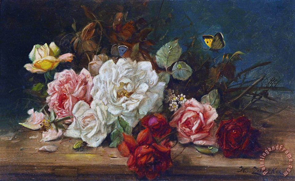 Still Life with Flowers And Butterfly painting - Hans Zatzka Still Life with Flowers And Butterfly Art Print