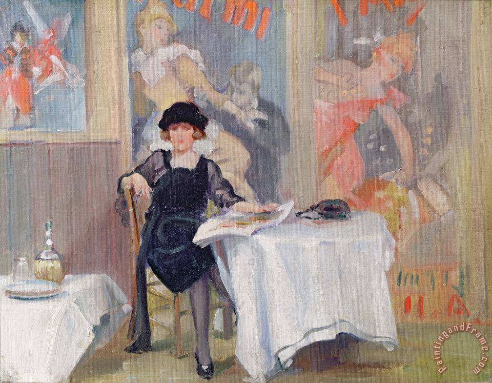 Lady at a Cafe table painting - Harry J Pearson Lady at a Cafe table Art Print