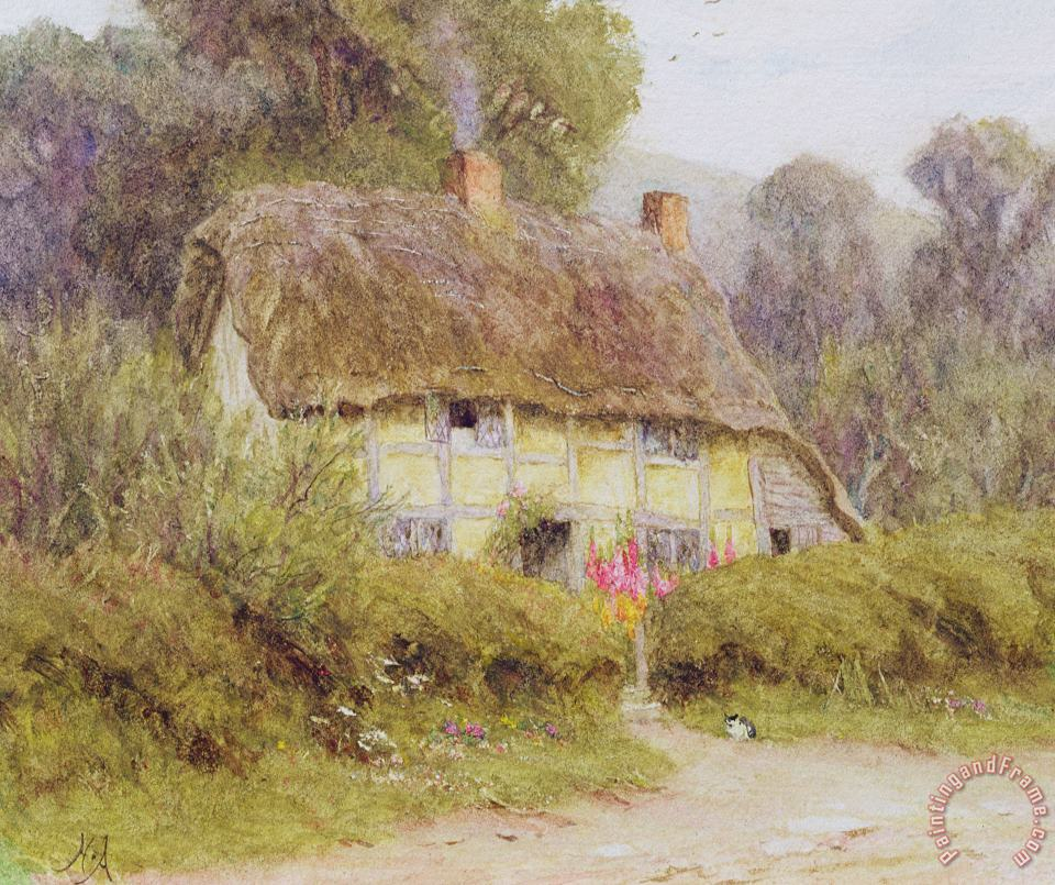 A Country Cottage painting - Helen Allingham A Country Cottage Art Print