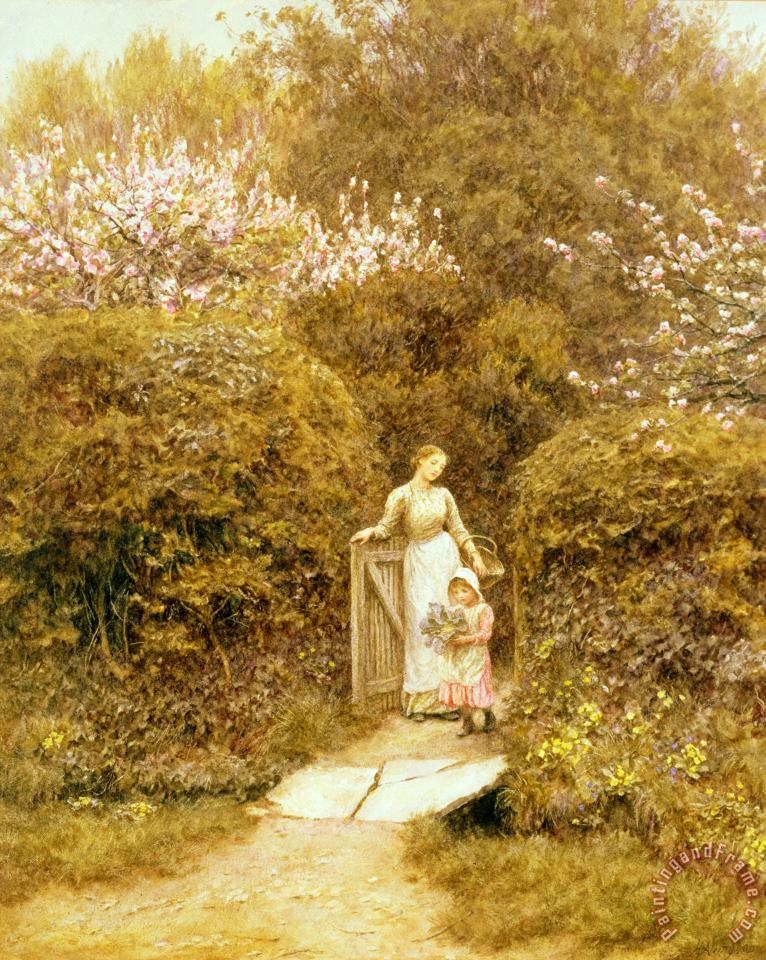 Helen Allingham At the Cottage Gate Art Painting
