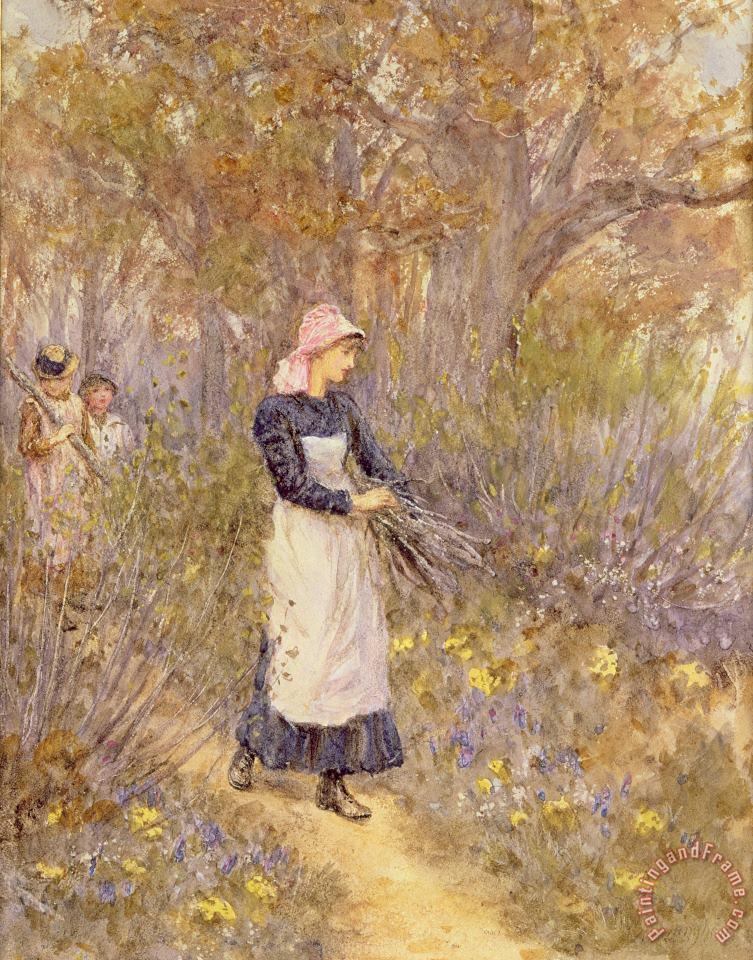 Helen Allingham Gathering Wood for Mother Art Painting
