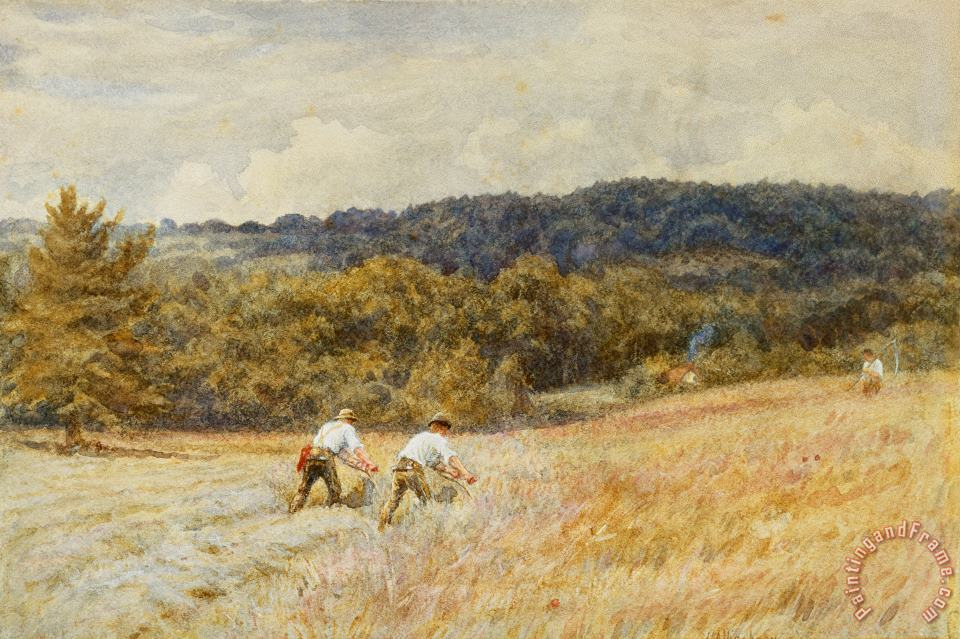 The Reapers painting - Helen Allingham The Reapers Art Print