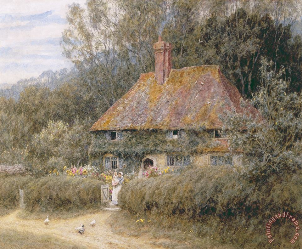 Valewood Farm under Blackwood Surrey painting - Helen Allingham Valewood Farm under Blackwood Surrey Art Print