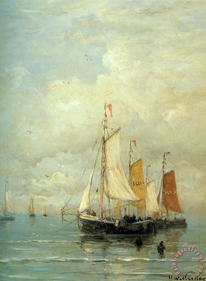 Hendrik Willem Mesdag A Moored Fishing Fleet Art Painting