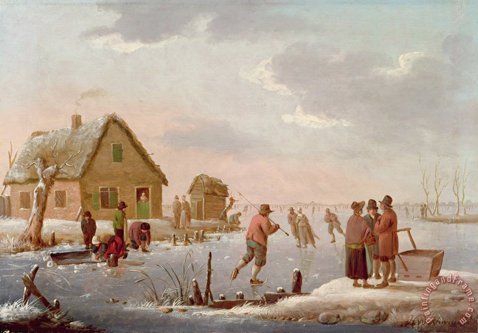 Figures Skating in a Winter Landscape painting - Hendrik Willem Schweickardt Figures Skating in a Winter Landscape Art Print