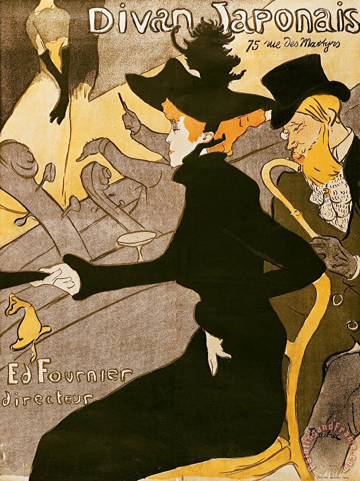 Poster advertising Le Divan Japonais painting - Henri de Toulouse-Lautrec Poster advertising Le Divan Japonais Art Print
