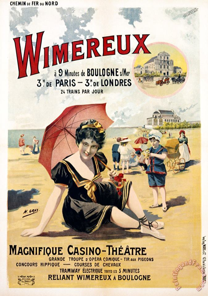 Wimereux Travel Poster painting - Henri Gray Wimereux Travel Poster Art Print