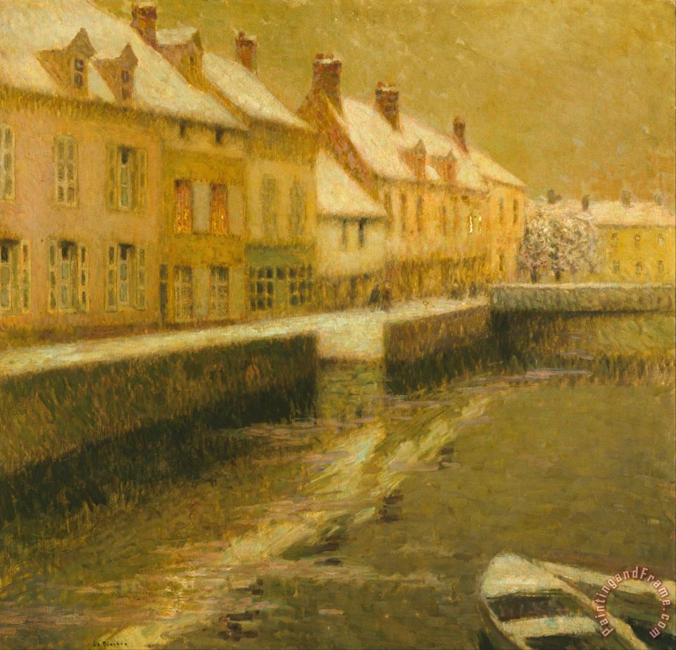 Canal in Bruges, Winter painting - Henri Le Sidaner Canal in Bruges, Winter Art Print