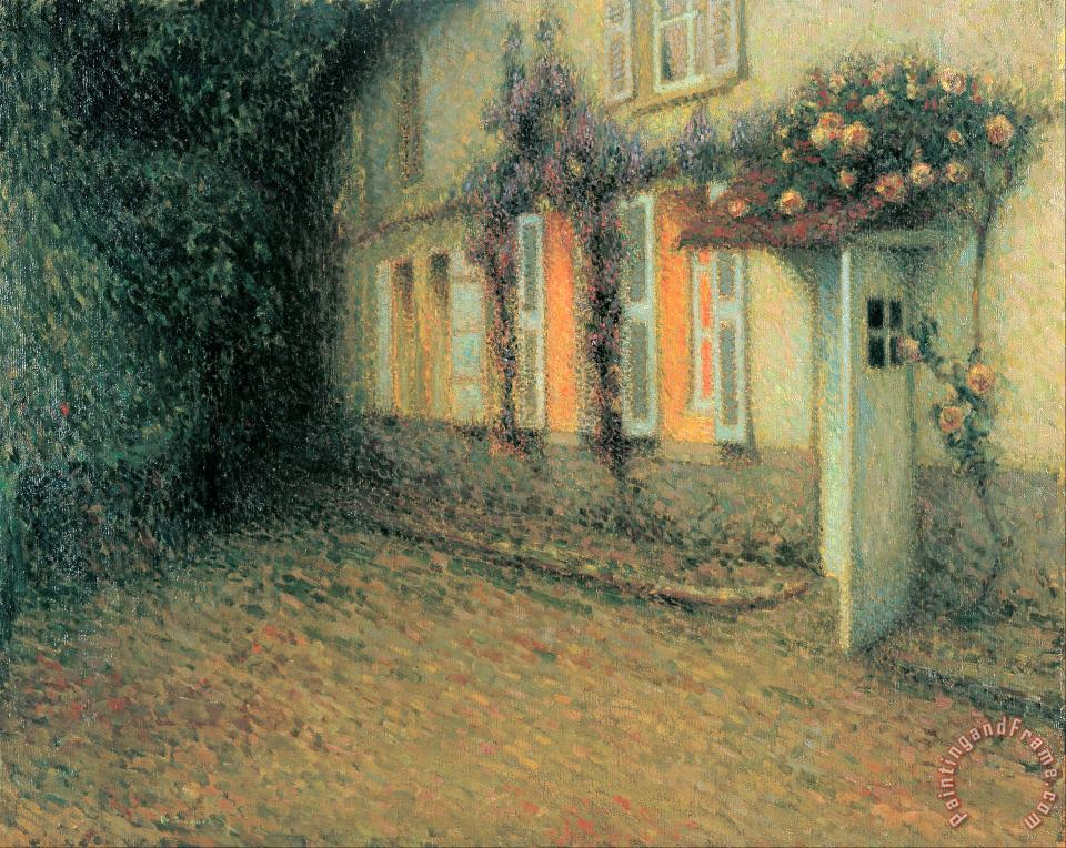 Roses And Wisterias on The House painting - Henri Le Sidaner Roses And Wisterias on The House Art Print