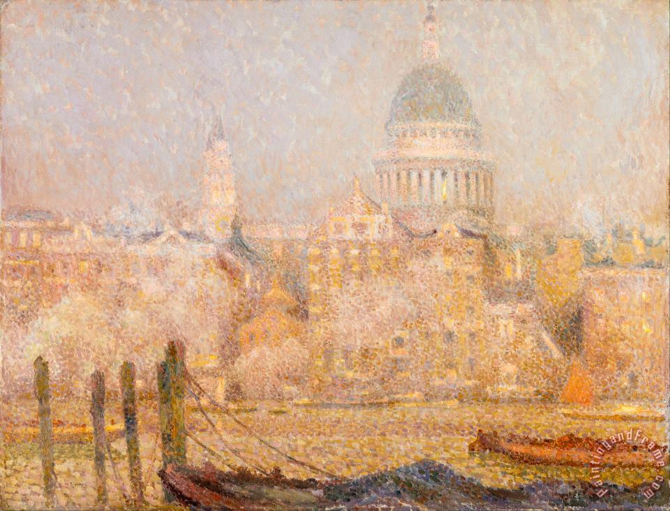 Henri Le Sidaner St. Paul's From The River Morning Sun in Winter Art Print