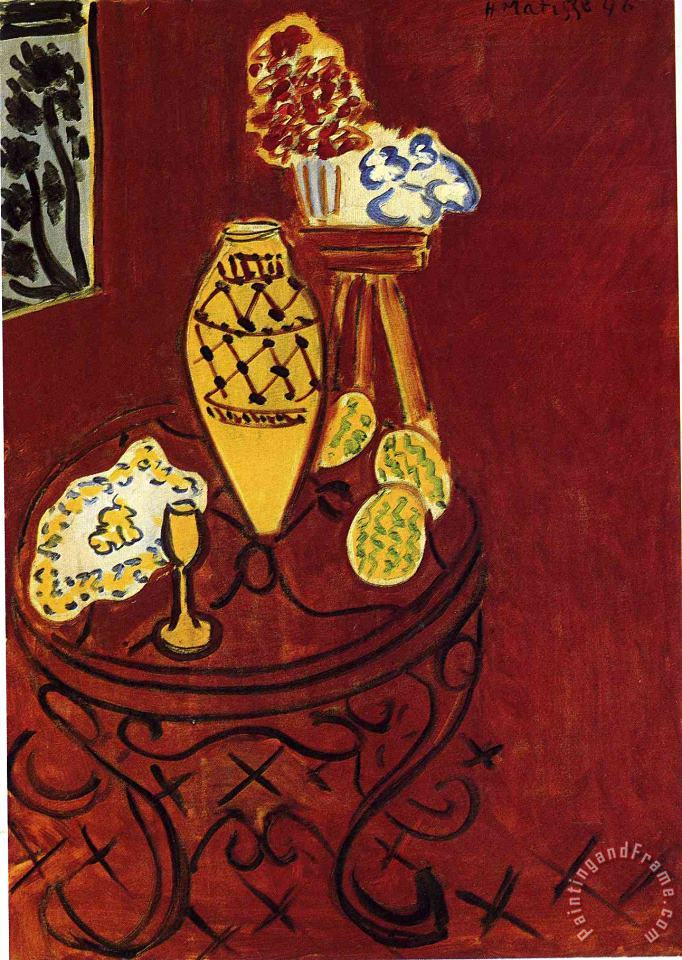 Interior in Venetian Red 1946 painting - Henri Matisse Interior in Venetian Red 1946 Art Print