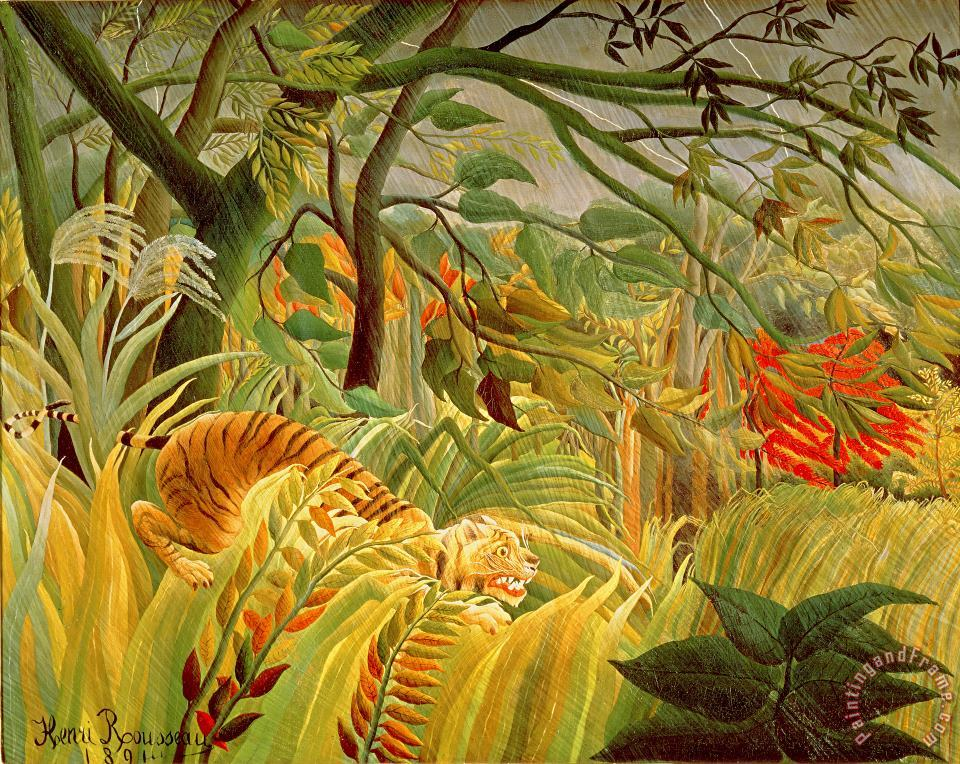 Tiger in a Tropical Storm painting - Henri Rousseau Tiger in a Tropical Storm Art Print
