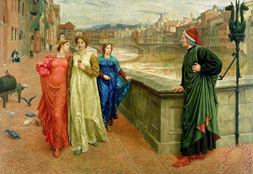Dante and Beatrice painting - Henry Holiday Dante and Beatrice Art Print