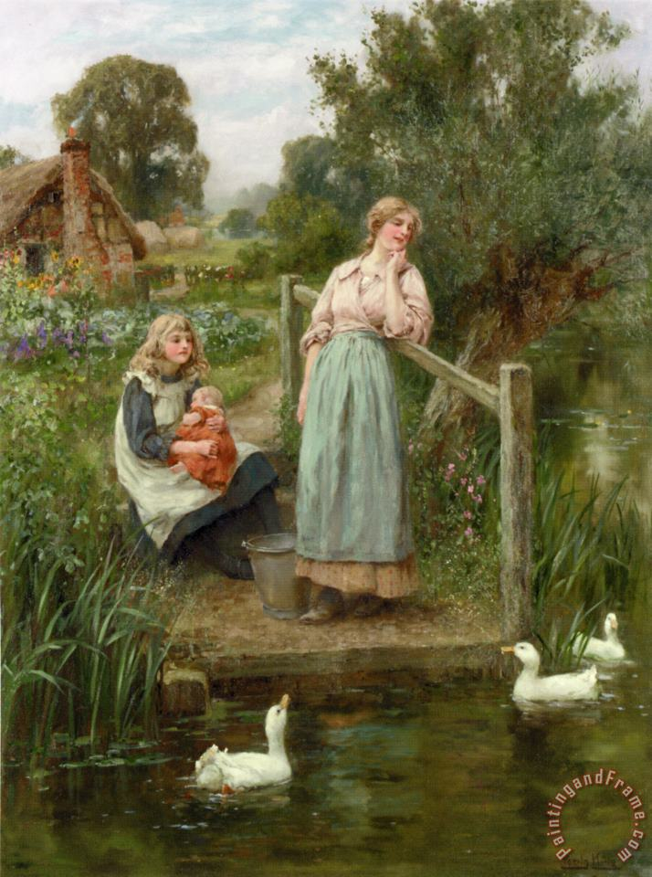 At The Duck Pond painting - Henry John Yeend King At The Duck Pond Art Print