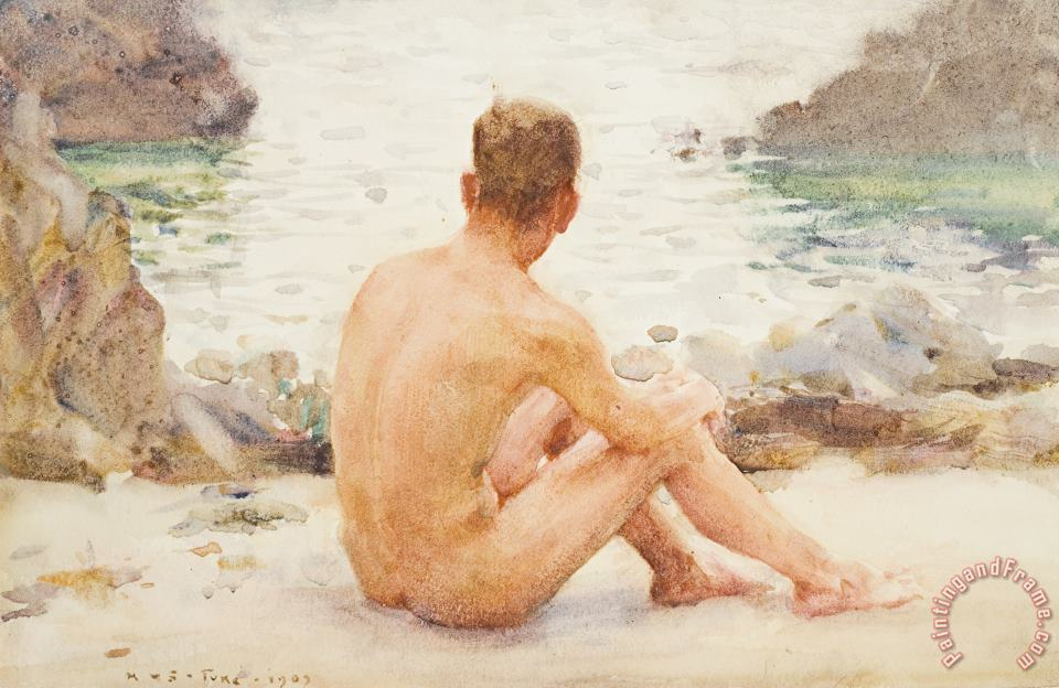 Charlie Seated on the Sand painting - Henry Scott Tuke Charlie Seated on the Sand Art Print