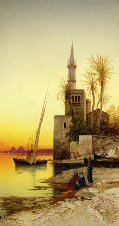 Banks of The Nile painting - Hermann David Solomon Corrodi Banks of The Nile Art Print