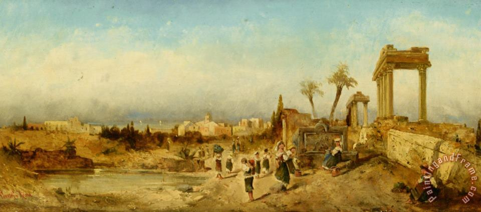 Fetching Water at a Fountain painting - Hermann David Solomon Corrodi Fetching Water at a Fountain Art Print
