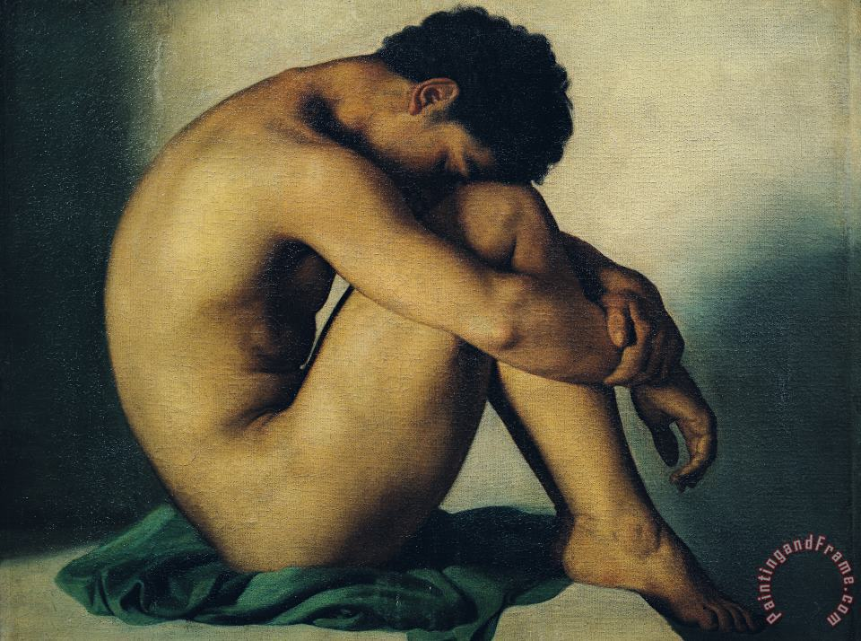 Hippolyte Flandrin Study of a Nude Young Man Art Print