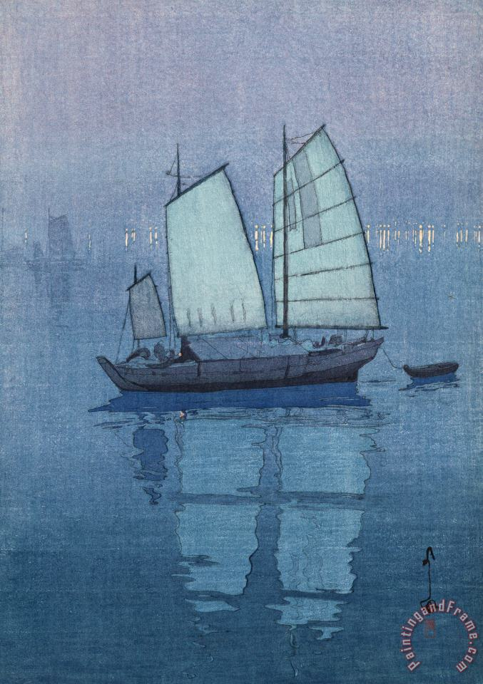 Sailing Boats, Night (hansen, Yoru), From The Inland Sea Series (seto Naikai Shu) painting - Hiroshi Yoshida Sailing Boats, Night (hansen, Yoru), From The Inland Sea Series (seto Naikai Shu) Art Print