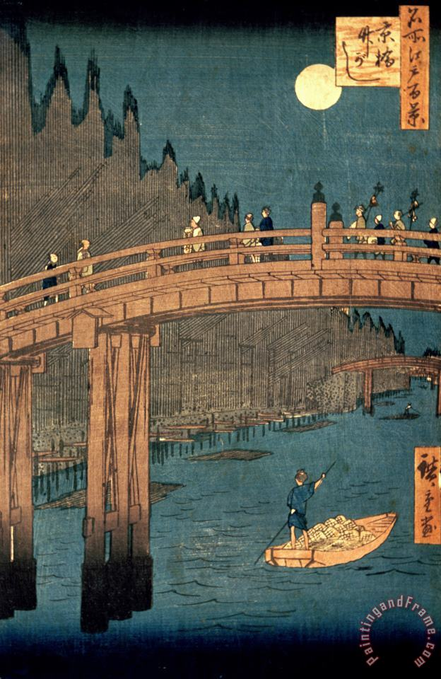 Kyoto bridge by moonlight painting - Hiroshige Kyoto bridge by moonlight Art Print