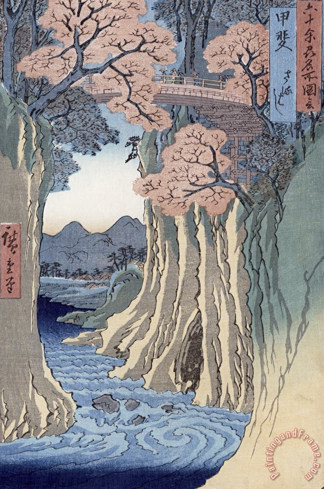 Hiroshige The monkey bridge in the Kai province Art Print