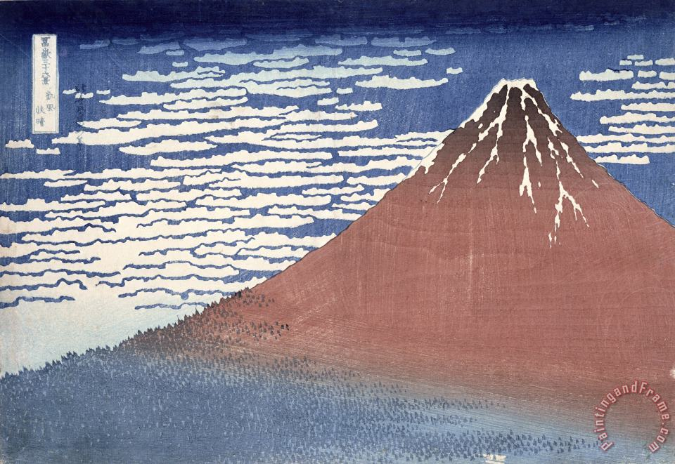 Fine weather with South wind painting - Hokusai Fine weather with South wind Art Print