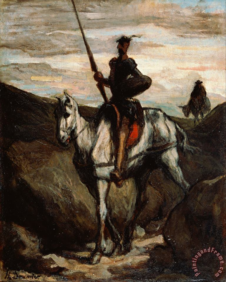 Don Quixote in The Mountains painting - Honore Daumier Don Quixote in The Mountains Art Print
