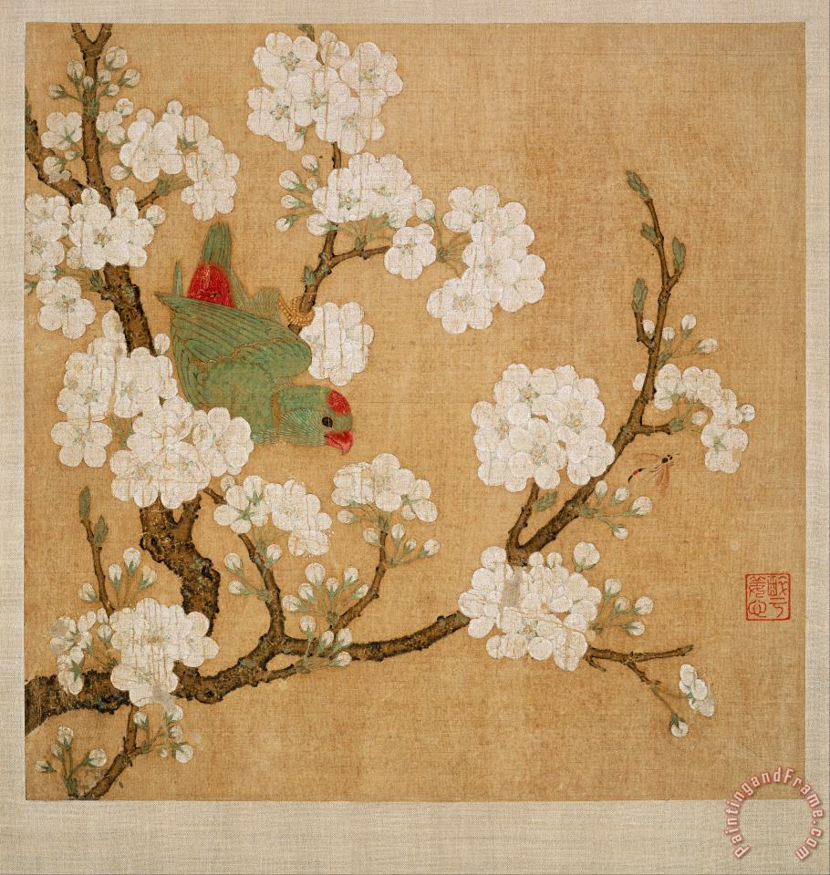 Parrot And Insect Among Pear Blossoms painting - Huang Jucai Parrot And Insect Among Pear Blossoms Art Print