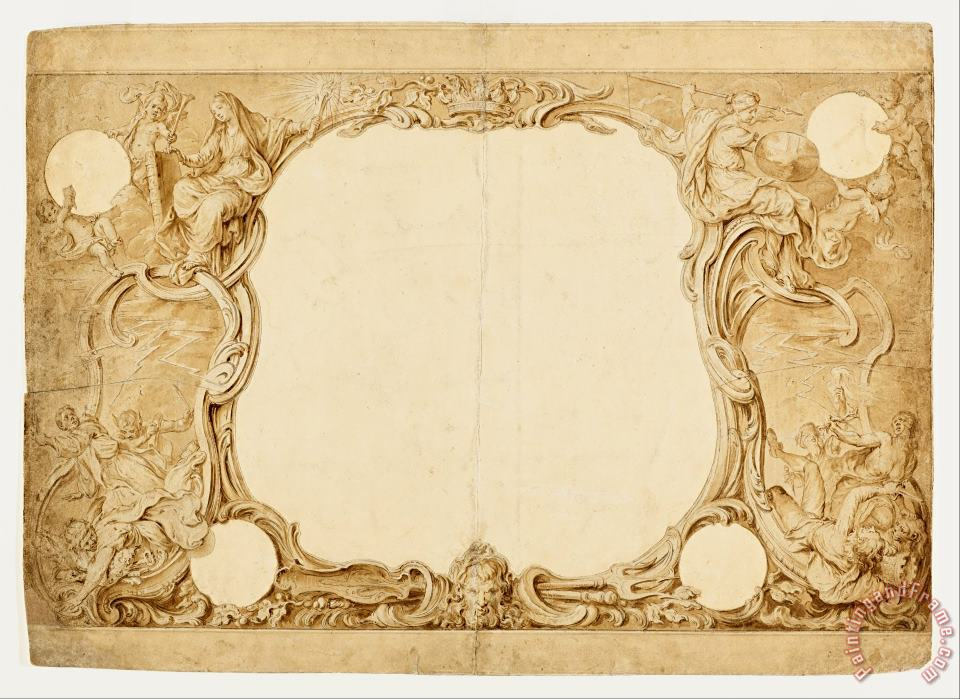 Hubert-francois Gravelot Design for an Ornamental Border, Used for The Surround to The General Chart in John Pine's Tapestry... Art Painting