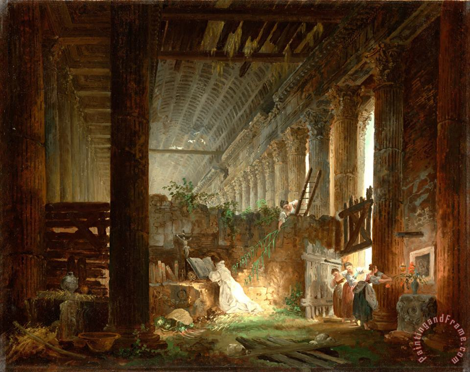 A Hermit Praying in The Ruins of a Roman Temple painting - Hubert Robert A Hermit Praying in The Ruins of a Roman Temple Art Print