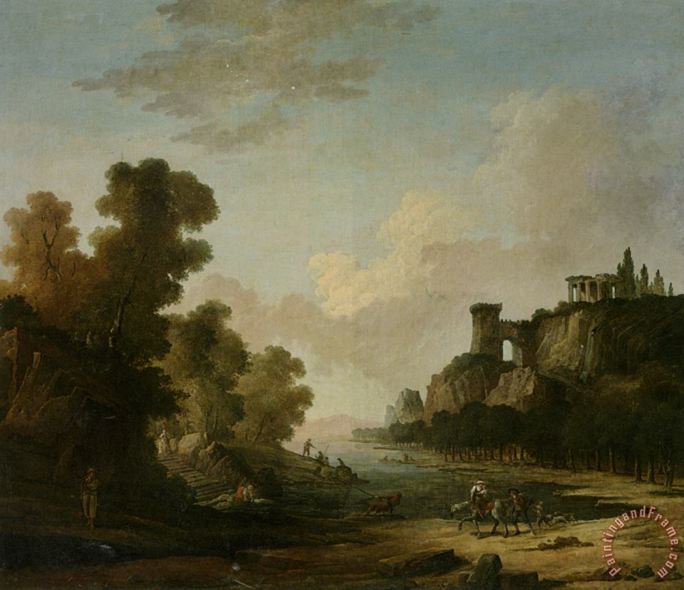Hubert Robert Figures on The Banks of a Lake with Classical Ruins Art Painting