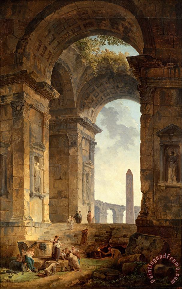 Ruins with an Obelisk in The Distance painting - Hubert Robert Ruins with an Obelisk in The Distance Art Print