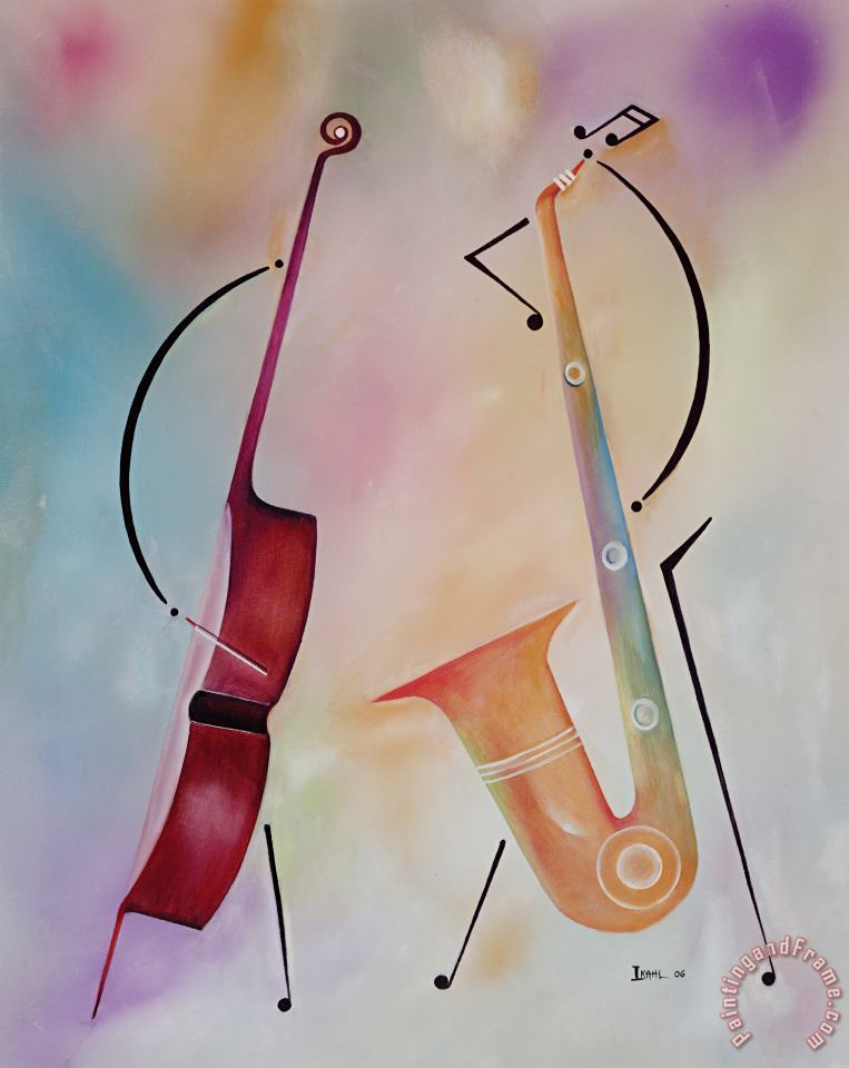 Bass and Sax painting - Ikahl Beckford Bass and Sax Art Print