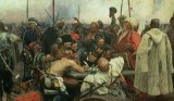 The Zaporozhye Cossacks writing a letter to the Turkish Sultan by Ilya Efimovich Repin