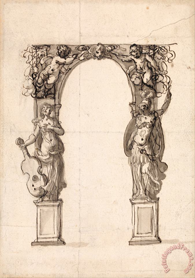 Design for a Temporary Arch Ornamented with Putti And Allegorical Figures of Music And War painting - Inigo Jones Design for a Temporary Arch Ornamented with Putti And Allegorical Figures of Music And War Art Print