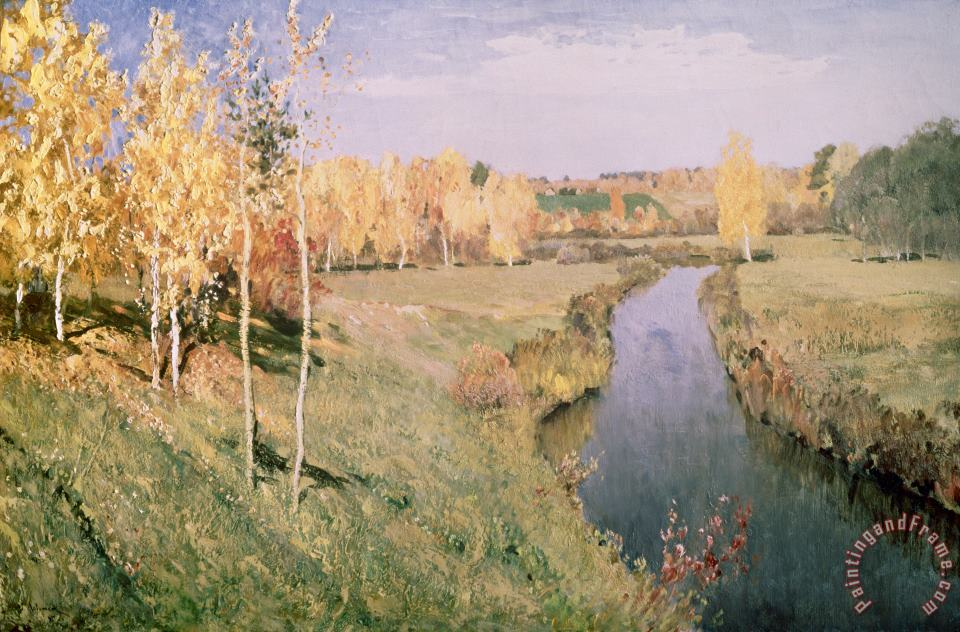 Golden Autumn painting - Isaak Ilyich Levitan Golden Autumn Art Print