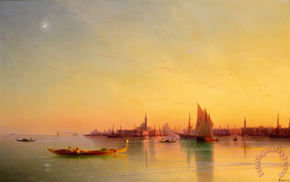 Venice from the Lagoon at Sunset painting - Ivan Konstantinovich Aivazovsky Venice from the Lagoon at Sunset Art Print